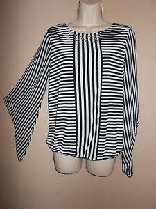 0c96ca79d45 Alfani Womens Size S Black   White Striped Stretch Blouse Lined ...