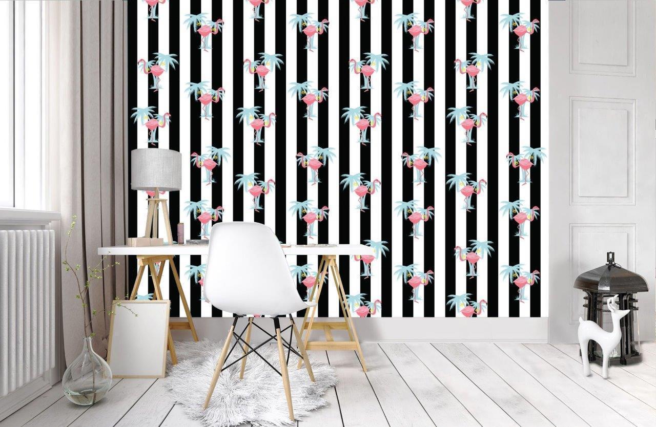 Flamigo Sripes Pattern Wallpaper Wall Mural Woven Self-Adhesive Art Design T30