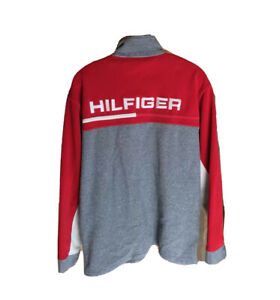 Vintage 90S Tommy Hilfiger Half Zip Fleece Pullover JACKET Flag Logo Spell Out  Multicolor BlueRedWhite Size L