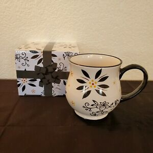 Temp-tations By Tara - Black Floral Pedestal Cup/Mug In Box ~ 16 Oz. ~ NEW