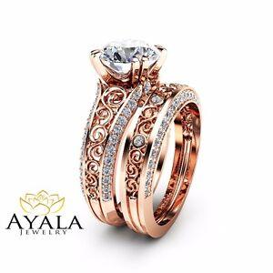 2 Carat Moissanite Engagement Ring Set 14k Rose Gold Rings Unique