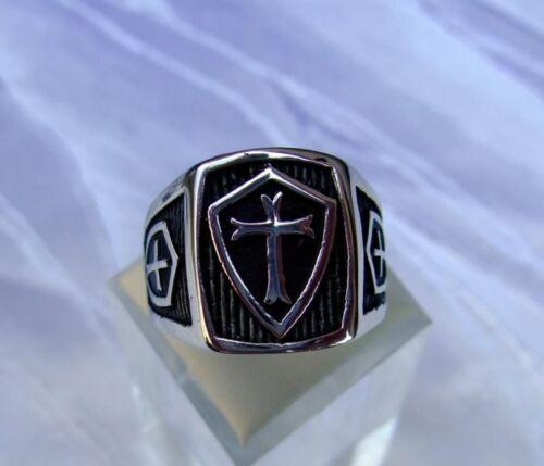 Anillo de acero inoxidable Biker templo caballero sello anillo Stainless Steel templar Cross