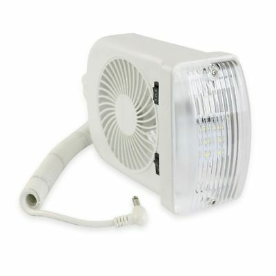 RV LED 12 volt Light & Fan with Male Jack 2 speed clamps pop up Camper  Trailer | eBay