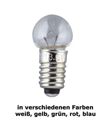 KA 51915 10 x Schraublämpchen E5,5 19V 8 mm verschiedene Farben