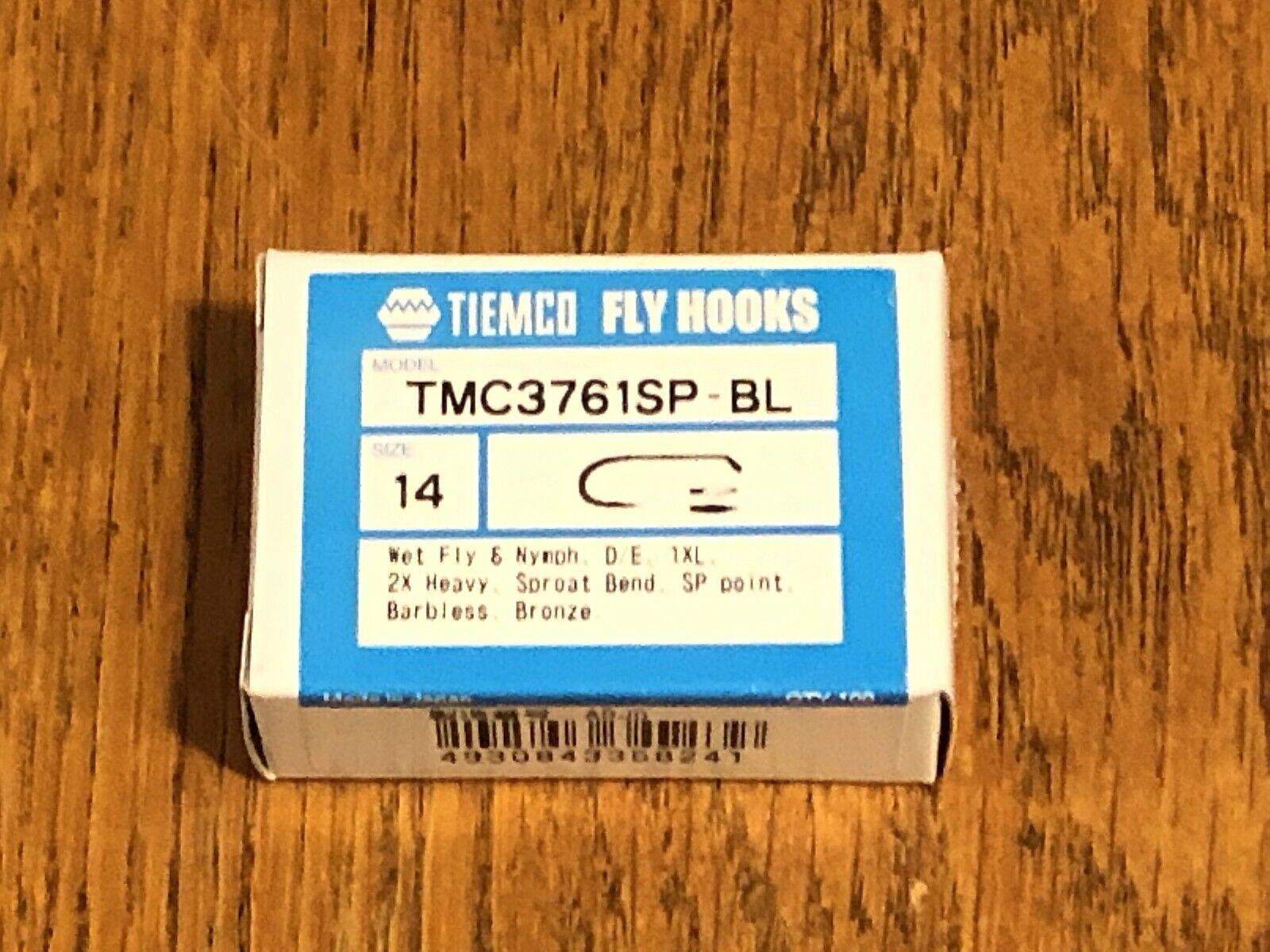 100 Tiemco Fly Tying Hooks, TMC 3761SP-BL, Size 14