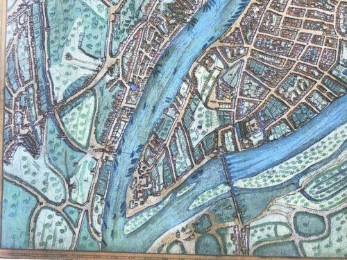 Old Antique Historic Map Lyon France 1572 Braun /& Hogenberg REPRINT 1500/'s