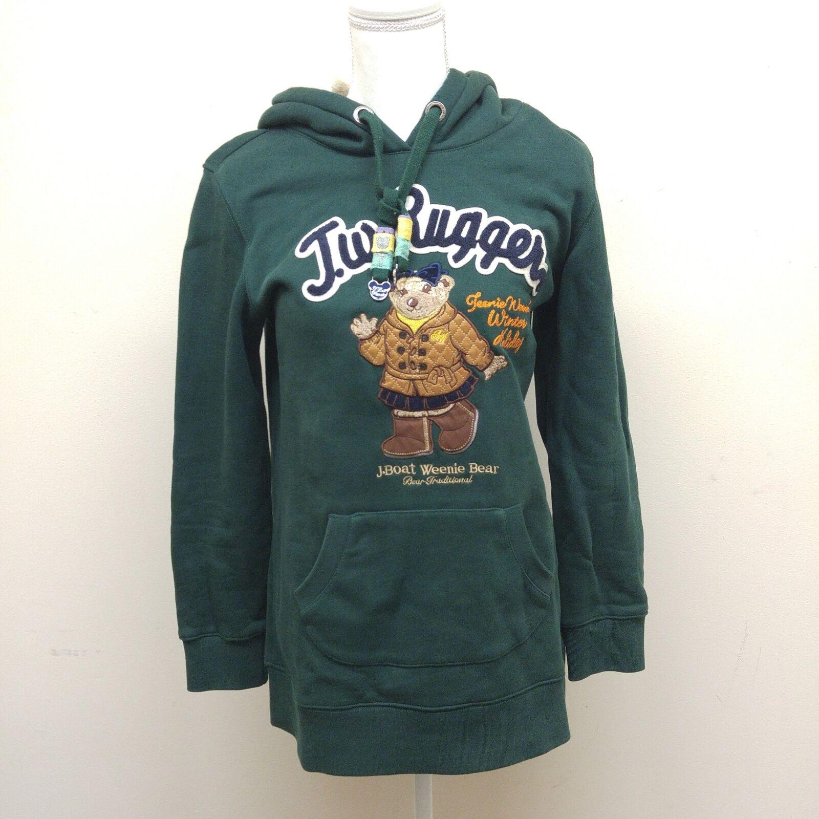 Woherrar Storlek L Jbåt Weenie Bear Forest grön Lined luvtröja Sweatshirt