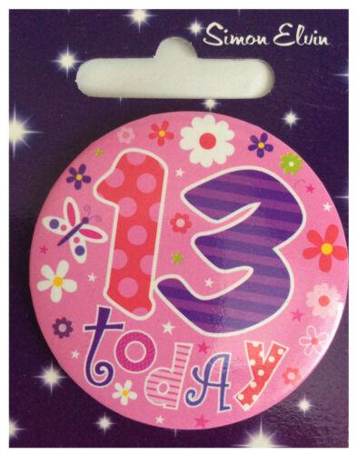 Simon Elvin je suis 13 aujourd/'hui Joyeux 13th Anniversaire badge Girl Boy Teen Ado