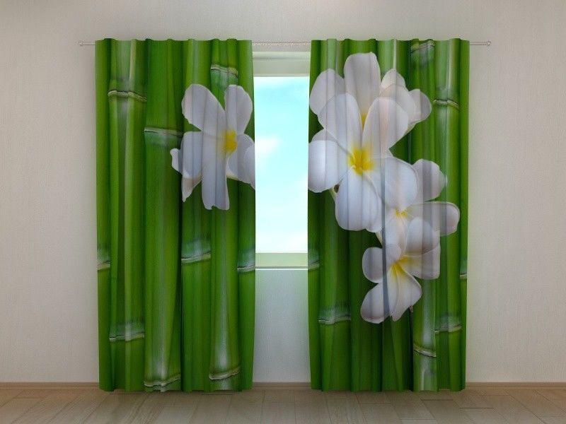 Cortina de Ventana Bambú wellmira Flores Ready Made 3D Impreso dormitorio de la naturaleza