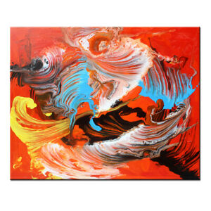 Framed-Original-Modern-Acrylic-Flow-Colorful-Abstract-PAINTING-Canvas-Wall-Art