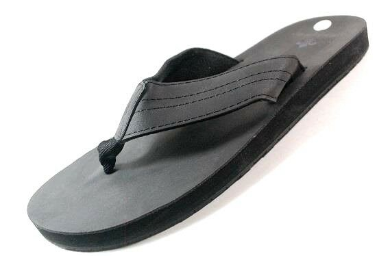VINTAGE STONE Men's SOLID Sandals Black Flip Flops Sandals SOLID [160G] 175805