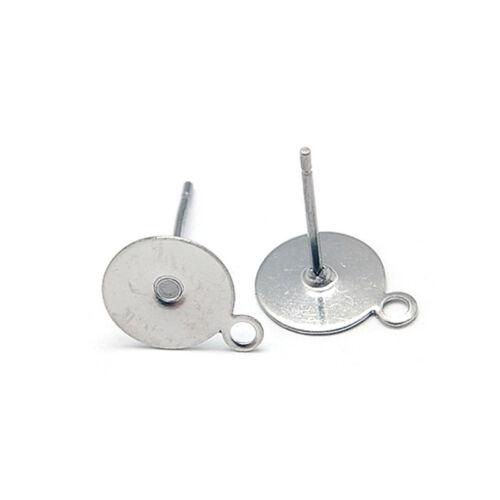 100pcs 304 Stainless Steel Flat Earring Posts Hang Loop Stud Findings 12.5x10mm