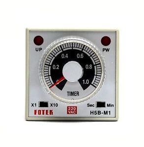 1pc din 48 industrial timer h5b m1 220v 1s 10s 1m 10m ac220v