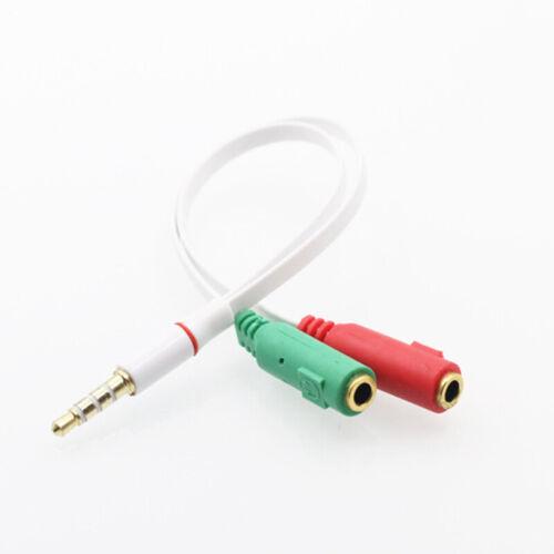 Headset-Adapter 3,5 mm Stereo-Audio-Stecker auf 2 Buchsen Mic Y Splitter-Kabel