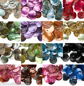 Lot-of-25-Iridescent-Mussel-Shell-20mm-Flat-Round-Coin-Seashell-Drop-Charm-Beads