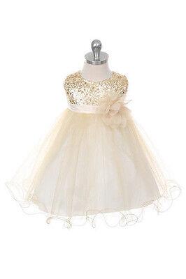 Gold Flower Girls Sequin Glitter Beaded Dress Christmas Pageant Graduation New