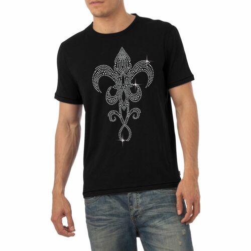 Men/'s Fleur de Lys Rhinestone Diamante T-Shirt