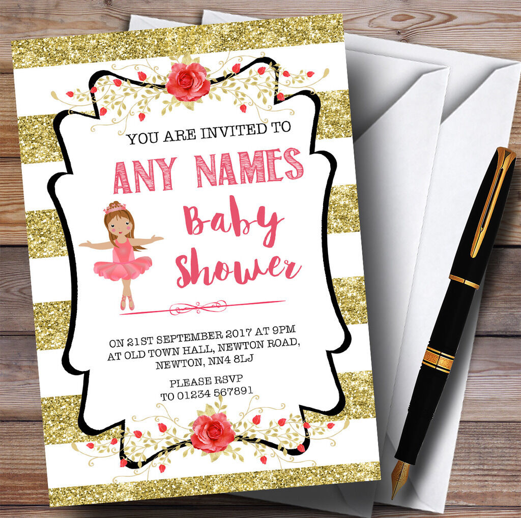 Rayures or ballerine ballerine ballerine Ballet Invitations Baby Shower Invitations d8ce40