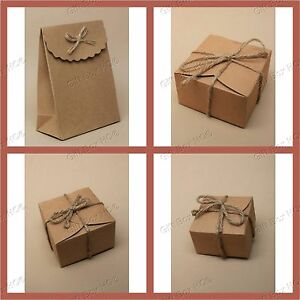 Image is loading NATURAL-BROWN-GIFT-BOX-STRING-CRAFT-PAPER-FLAT- & NATURAL BROWN GIFT BOX STRING CRAFT PAPER FLAT PACK SMALL PRESENT ...