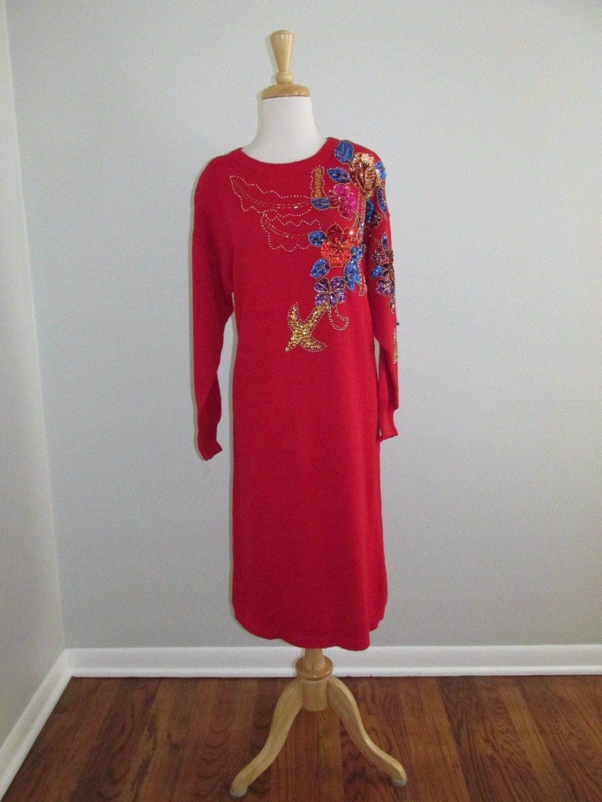 Vintage 80's Womens Size L-16 Red Glitzy Sequin Sweater Dress Beverly goldberg