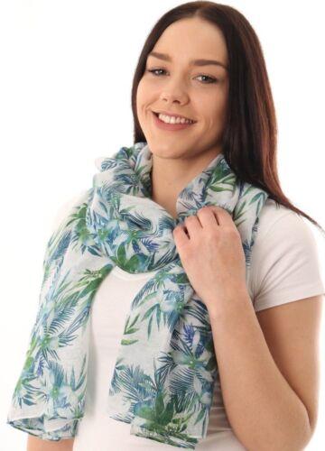 Giungla Tropicale Stampa Foglia di Palma sciarpa scialle Wrap Hawaii Blu UK insegnanti regali