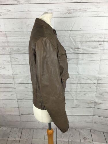 Uk10 Condition Kvinners Great jakke bomber læder Brown lager xzIOaZ