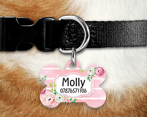 Personalised-Pet-Tag-ID-Tag-Dog-Tag-Bone-Tag-Pink-Stripes-Roses