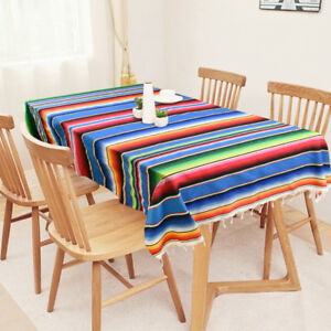 Mexican-Serape-Table-Runner-Party-Wed-Blanket-Cotton-Tablecloth-Cover-79-034-X-59-034