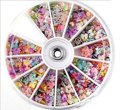 NEWLY 3D Nail Art Rhinestones Pearl Gems Acrylic Tips Decoration Manicure Wheel