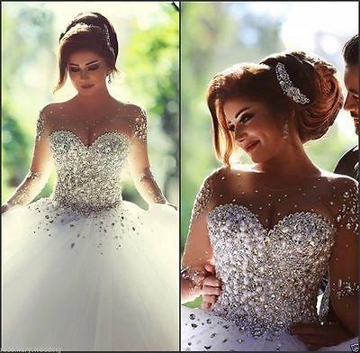 2016 New White Gorgeous Princess Wedding Dress Bridal Ball Gown Size:6-16