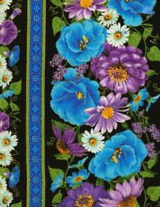 Cottage-Grove-Fabric-Floral-Flower-Stripe-Blue-Purple-Timeless-Treasure-YARD