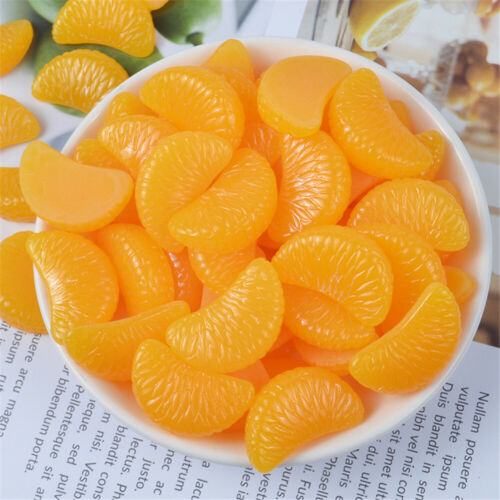 20 pcs Resin Cabochons Flatbacks Orange Segments Decorations Jewelry Findings