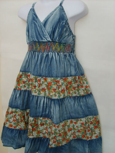 Girls Delightful Denim Look Panel Summer Sun Dress// Outfit// Party// Holidays