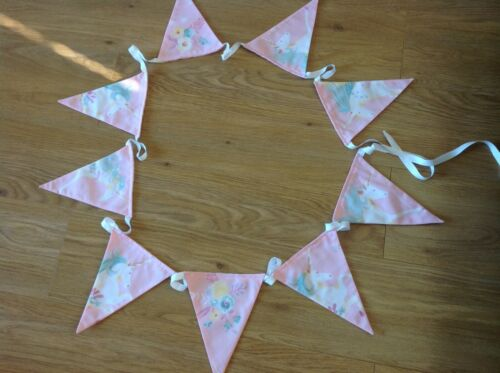 LAURA ASHLEY PINK UNICORN FABRIC HAND MADE BUNTING FLAGS 3 METRES