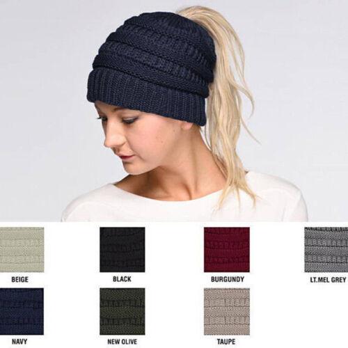 Women Stretch Knitted Beanie Hat Messy High Bun Ponytail Winter Warm Hole Cap