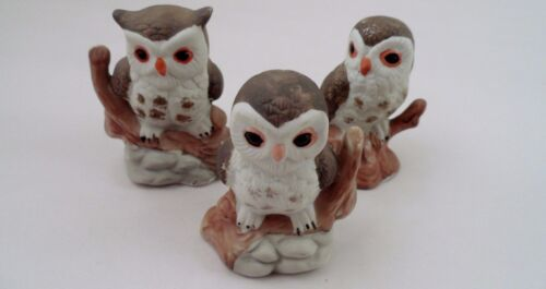 1970s Era 3 Porcelain Bisque White Snowy Big Eyed Owl Owls Family Figurines
