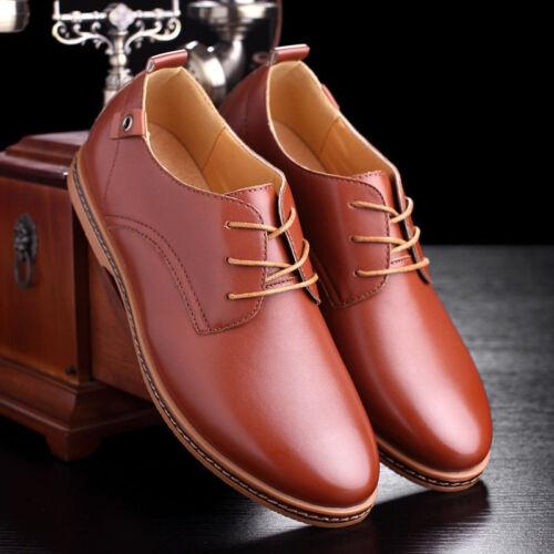 Men Business Dress Leather Shoes Flat European Casual Oxfords Lace Up Plus Size
