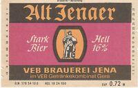 1 Bieretikett Jena DDR ,  Alt Jenaer