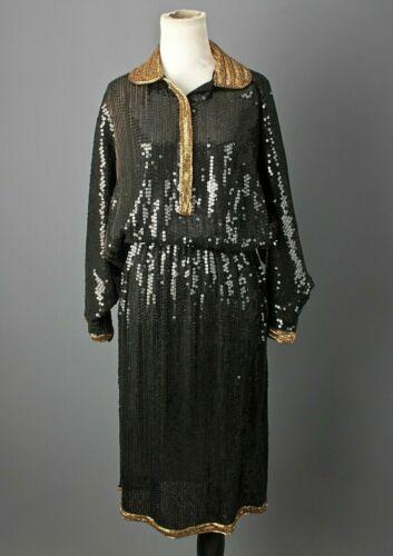 VTG Women's 80s Black and Gold Sequin / Beaded Ria