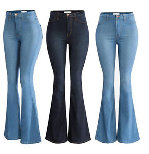 Women High Waisted Flared Jeans Ladies Bootcut Stretch Denim Pants Bell Bottoms