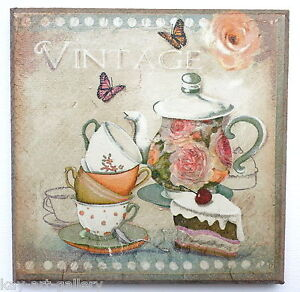 wall picture plaque vintage retro style handmade tea time decoupage ebay. Black Bedroom Furniture Sets. Home Design Ideas
