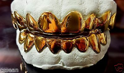 STERLING SILVER W/ 18K YELLOW GOLD PLATED PLAIN CUSTOM FIT REAL GRILLZ