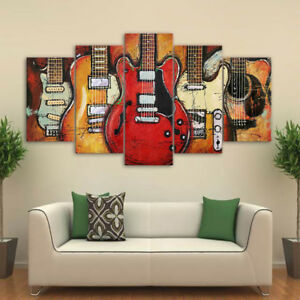 Details About Framed Abstract Guitar Rock Music Canvas Wall Art Painting Prints Home Decor