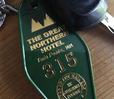 """New!  Green and Gold TWIN PEAKS inspired """"Great Northern Hotel"""" keytag, keyfob"""