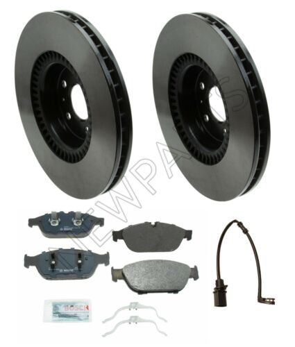Front Disc Brake Rotors 356mm Vented /& Pads Sensor Kit For Audi A6 A7 A8 Quattro