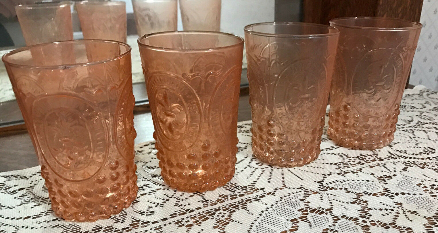 Pottery Barn Victorian Glass Tumblers, Set Of 4 - Coral - New