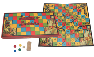 Snakes-and-Ladders-Retro-Design-Game-Collectible-Deluxe-Wooden-Pieces-No-Plastic