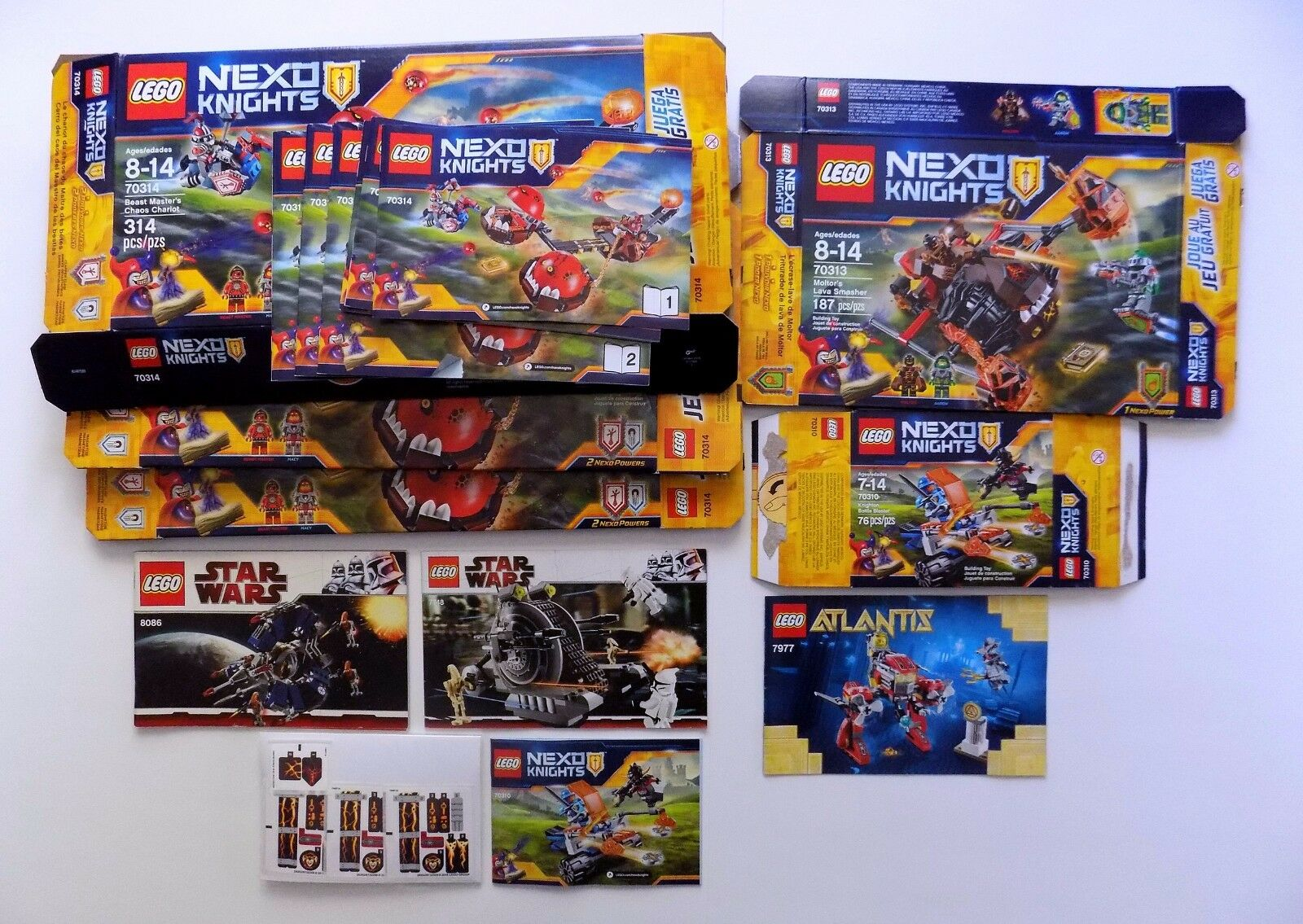 8 Lego Sets, 1799 Pieces 24 MINIFIGS. Star Wars, Nexo Knights, Classic Knights