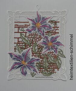 Plauener Dentelle ® Fensterbild Printemps Fenêtre Décoration Ornement Fleurs D'été-ion Clematis Sommer Blumen Fr-fr Afficher Le Titre D'origine