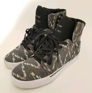 Supra-Muska-001-Skytop-Sneakers-Rare-80s-Gray-Multicolor-Zig-Zag-Scribble-Mens-7